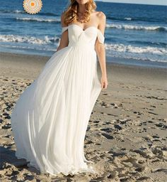 Off The Shoulder Prom Dress,White Chiffon Prom Dress,Long