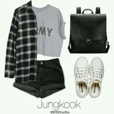 A fashion look from April 2016 featuring flannel button-down shirts, cuffed denim shorts and white tennis sneakers. Browse and shop related looks. Kpop Fashion Outfits, Mode Outfits, Korean Outfits, Teen Fashion, Girl Outfits, Summer Outfits, Mode Kpop, Bts Clothing, Bts Inspired Outfits