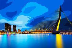 #ROTTERDAM #Erasmusbrug  Rotterdam is een stad die verder gaat dan de geschiedenis en de huidige. Het ziet er naar de toekomst met enthousiasme, trots de grootste haven van Europa en de derde in de wereld, een ongelooflijke verscheidenheid van culturele energie als gevolg van het feit dat de helft van de bevolking is buitenlands, een levendig nachtleven... en niet alleen!  #YOURCityYOURCapital #Holland