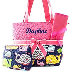 A personal favorite from my Etsy shop https://www.etsy.com/listing/266547654/pink-whale-diaper-bag-diaper-bag
