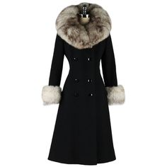 Vintage 1960's Black Wool Fox Fur Princess Coat | From a collection of rare vintage coats and outerwear at http://www.1stdibs.com/fashion/clothing/coats-outerwear/