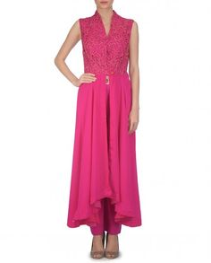 Embroidered Coral Pink Kurta Trousers Set - Sonia Saxena