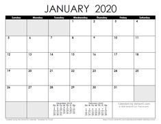 Download a free January 2020 Calendar from Vertex42.com