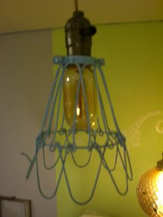 Aqua Vintage style trouble light cage lighting swag hanging lamp pendant industrial, steampunk. $50.00, via Etsy.
