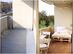 Before and After | Balcony | Ikea | Summer days | lights | Europaletten | Runnen | DIY by vanessaesau