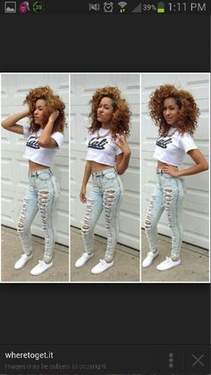 Urban outfit high waisted cut up jeans crop top curly hair