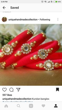 Silk Thread Bangles Design, Silk Thread Necklace, Silk Bangles, Gold Bangles Design, Bridal Bangles, Thread Jewellery, Fabric Jewelry, Designer Bangles, Jewellery Diy