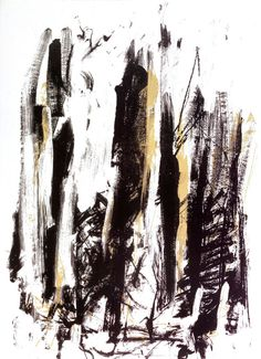 """Joan Mitchell """"Arbres (Black and Yellow)"""" 1991"""