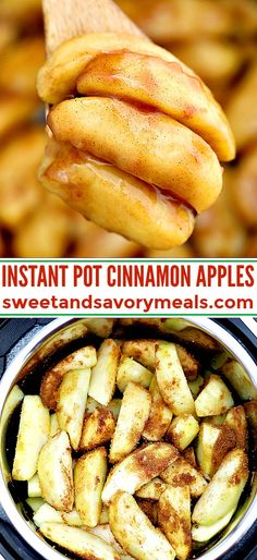 Instant Pot Cinnamon Apples make for a perfect fall side dish or dessert! Pressure cook this quick and simple dish for just two minutes to make an easy and delicious dessert! #instantpot #pressurecooker #apples #applerecipes #sweetandsavorymeals