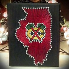 Chicago Blackhawks String Art! Check out my Etsy shop if you would also like to order your own Custom Made String Art! Blackhawks, Chicago, Illinois, string art, state string art