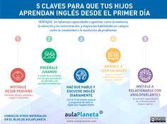 Hola: Una infografía con las Claves para que tus hijos aprendan inglés desde el 1º día. Vía Un saludo