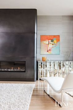 Contrasting gray wall finishes around linear #fireplace                                                                                                                                                                                 More