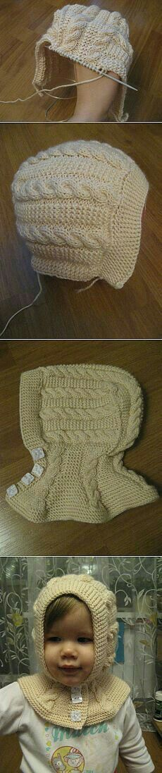 """Knitted cabled hat; double-wedge shaped base with grafted ends, stitches picked up and knit in the round to finish crown. Two different cable charts. ~~ http://magic-art.info/blog/vjazanaja_spicami_teplaja_shapka_obodok_na_zimu/2014-12-06-609 ~~ Вязаная спицами теплая шапка-ободок на зиму. - 6 Декабря 2014 - Мастер классы по рукоделию - Информационный портал """"Магия Творчества"""""""