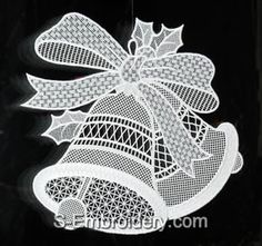 SKU 10452 Christmas Bells Freestanding Lace Window Decoration