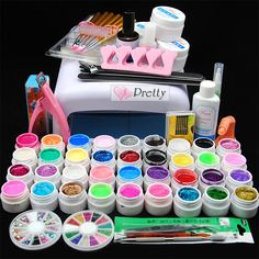 36W UV Lamp Dryer Pure Glitter UV Builder Gel Topcoat Nail Art Tips Decor Kit #Unbranded