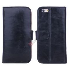 Smooth Crazy Horse Wallet Leather Case for iPhone 6 Plus 5.5inch - Black US$12.99