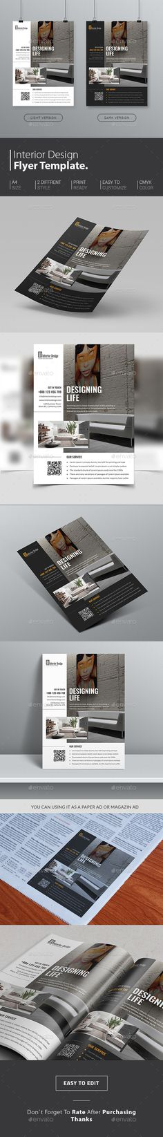 Interior Design Flyer Template, suitable for #realestate #interiordesign promotion. http://graphicriver.net/item/interior-design-flyer/14926847?ref=themedevisers