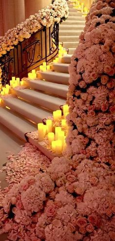 Amazing floral covered staircase with candles lighting the way.by Jeff leatham Wedding Goals, Wedding Themes, Wedding Venues, Wedding Planning, Wedding Decorations, Wedding Photos, Wedding Ceremony, Luxury Wedding Decor, Holiday Decorations