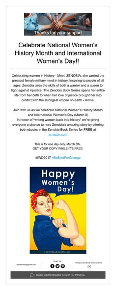 Celebrate National Women's History Month and International Women's Day!!