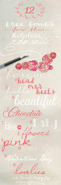 1. Forever | Quilline Script Thin2. Head Over Heels | Soft Script3. Hello | Signerica Fat4. Beautiful | Lavanderia5. Chocolate | Magnolia6. Baby | DK Carte Blanche7. Kiss | Magic Kiss8. Flowers | Jel