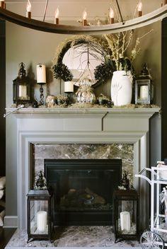 #lantern, #fireplace, #halloween, #mantel, #black-and-white  Photography: Rustic White Photography - rusticwhitephotography.com/ Styling: Waiting on Martha - waitingonmartha.com/  Read More: http://www.stylemepretty.com/living/2013/10/25/halloween-party-from-waiting-on-martha/