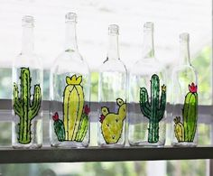 Cactus can be virtually any shape or size which makes them super easy to draw and paint. Easy to paint makes them a great subject for embellishing empty recycled glass bottles. Painting Glass Jars, Glass Painting Designs, Bottle Painting, Glass Art, Recycled Glass Bottles, Glass Bottle Crafts, Bottle Art, Cactus Decor, Cactus Art