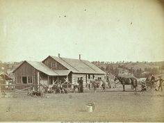 1888 photo, Western Ranch house, horses, farm, cowboy, Wyoming
