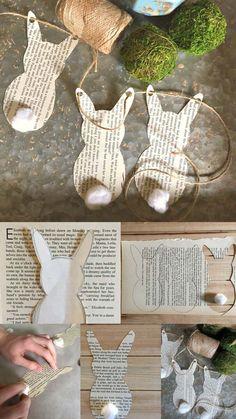 süsse Papierhäschengirlande , 27 Easy und Low-Budget-Handwerk, um dieses Ostern zu machen