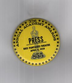 Minneapolis Star Tribune reporter Barbara Flanagan donated this press button from the 1959 Academy Awards to Hennepin History Museum.