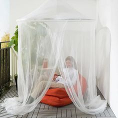 IKEA - SOLIG, Net, white, The net creates a cozy space in the room without completely shutting out the surroundings and also provides some protection from flying insects. Easy to keep clean as it is machine washable. Gazebo Tent, Canopy Outdoor, Canopy Tent, Pergola Patio, Outdoor Decor, Canopies, Outdoor Living, Pergola Ideas, Cheap Canopy