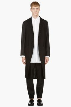 ANN DEMEULEMEESTER Black Extra Long Drawstring Tail Jacket