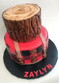 Little man lumberjack cake Lumberjack Cake, Lumberjack Birthday Party, Wild One Birthday Party, Baby Birthday, 1st Birthday Parties, Birthday Ideas, Cupcakes, Cupcake Cakes, Baby Shower Cakes