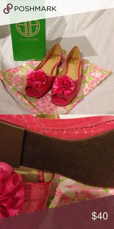 Lilly Pulitzer Lady Mary flats Daiquiri Pink Lilly Pulitzer Lady Mary flats Daiquiri Pink. Never been worn.  Box and bag included. Lilly Pulitzer Shoes Flats & Loafers