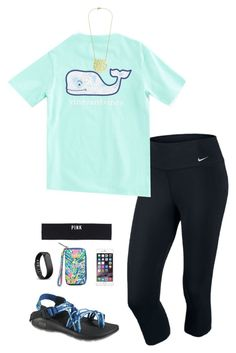 """Spending the day with dad:)"" by emiliaa06 ❤ liked on Polyvore featuring NIKE, Vineyard Vines, Chaco, Fitbit and Victoria's Secret PINK"