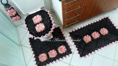 jogo de banheiro croche preto com flores