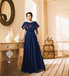 19 Ideas For Dress With Sleeves Prom Navy Blue Fancy Dress Design, Stylish Dress Designs, Designs For Dresses, Indian Gowns Dresses, Indian Fashion Dresses, Latest Gown Design, Gown Party Wear, Indian Party Wear Gowns, Casual Gowns