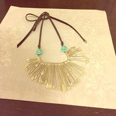 Lucky Brand turquoise, silver & leather necklace Boho chic necklace (looks amazing with tee and jeans!) Lucky Brand Jewelry Necklaces