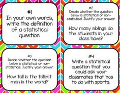 Statistical Questions Task Cards CCSS 6.SP.1   Task cards ...