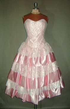Vintage 80&-39-s Prom Dress Gown Pink Puffy Sleeves Bow - Pinterest ...