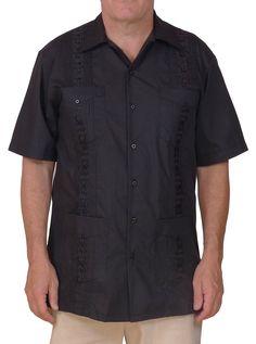 db178c204c Squish Cuban Style Guayabera Shirt   Black at Amazon Men s Clothing store   Button Down Shirts