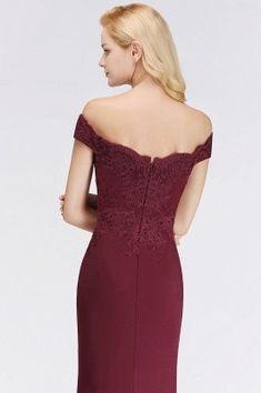 MisShow Off-Shoulder Mermaid Long Evening Formal Prom Dresses for Women Cap Sleeve Bridesmaid Dress, Mermaid Bridesmaid Dresses, Burgundy Bridesmaid Dresses, Prom Dresses With Sleeves, Mermaid Evening Dresses, Lace Bridesmaid Dresses, Evening Gowns, Latest Fashion Dresses, Lace Mermaid