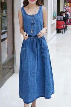 $17.91 Stylish Scoop Neck Pocket Design Denim Dress For Women