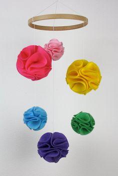 Rainbow Baby Mobile, Rainbow Crib Mobile, Pom Pom Baby Mobile, Rainbow Nursery, New Baby Gift Rainbow Nursery, Rainbow Baby, Pom Pom Mobile, Pom Pom Baby, Baby Mobile, Textiles, Flower Ball, New Baby Gifts, Bright Pink