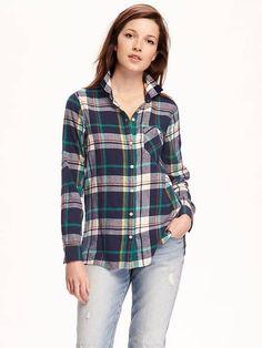 Plaid Boyfriend Flannel Shirt for Women | Old Navy