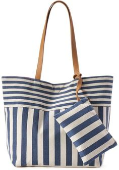 Ready for a day out on the town, this SONOMA Goods for Life tote and coin pouch offers modern style and storage space. Patchwork Bags, Quilted Bag, Striped Tote Bags, Denim Bag, Fabric Bags, Cloth Bags, Handmade Bags, Canvas Tote Bags, Purses And Bags