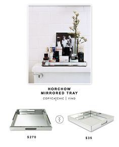 Large Square Mirrored Tray