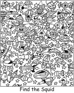 Welcome to Dover Publications Coloring Pages For Kids, Adult Coloring, Colouring Pages, Coloring Books, Hidden Picture Puzzles, Hidden Words, Vision Therapy, Hidden Pictures, Logic Puzzles