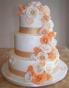 Apricot and White Rose Wedding Cake