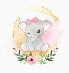 baby elephant sitting on the moon with flower - Comprar este vetor do stock e explorar vetores semelhantes no Adobe Stock Baby Wallpaper, Kawaii Wallpaper, Cartoon Wallpaper, Elephant Illustration, Cute Animal Illustration, Cute Disney Drawings, Cute Drawings, Baby Animals, Cute Animals