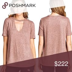 • Pink choker neck tee 76% Rayon 19% Polyester 5% Spandex  Dusty Rose    Super soft and comfy active usa Tops Tees - Short Sleeve